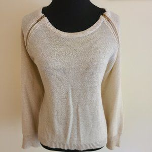 Tan & Gold Bisou Bisou Sweater w/ Zip Accents - Sz